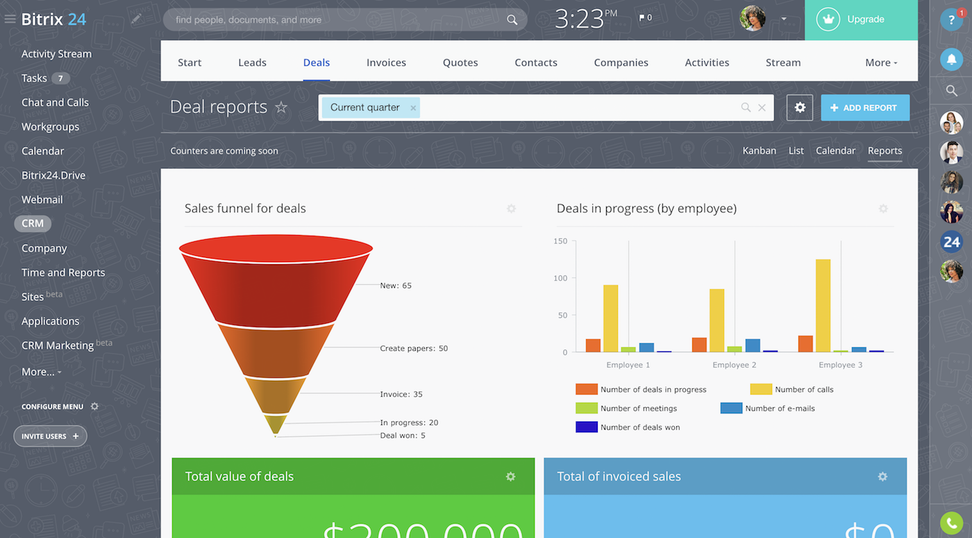 Free CRM with reports